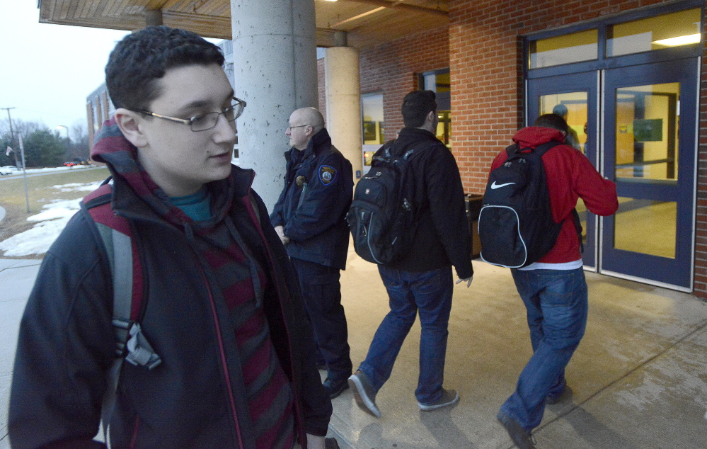 Windham High School sophomore Dominic Stevens is among students to return to Windham schools after a threat cancelled three days of classes. John Patriquin/Staff Photographer
