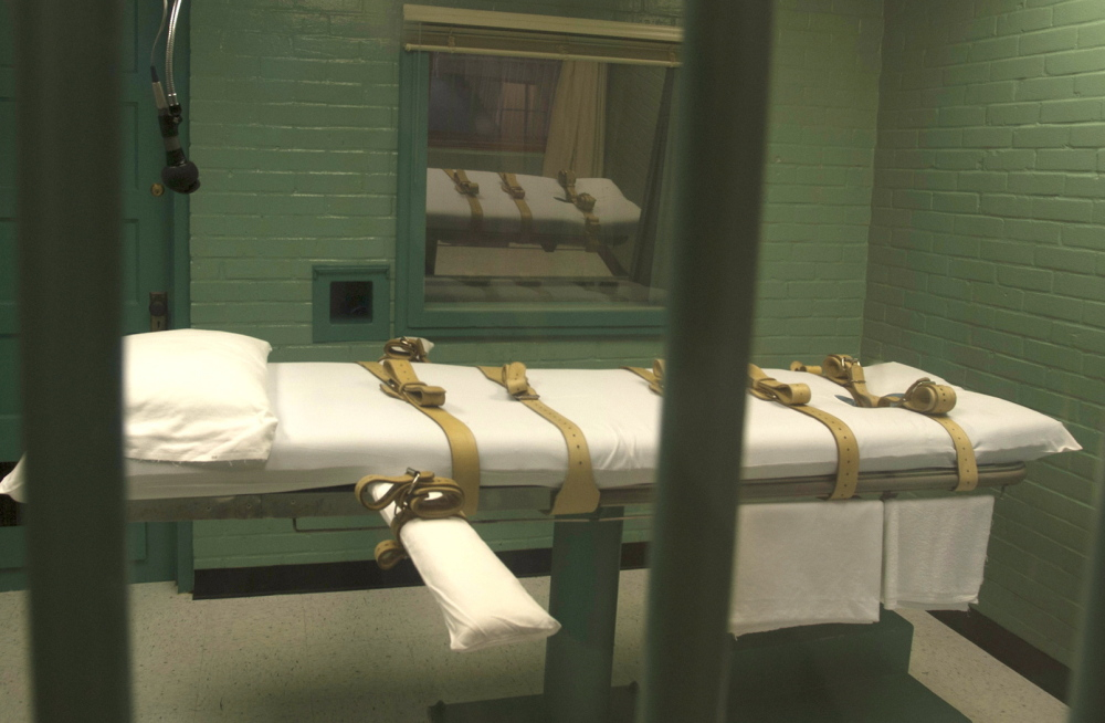 The death chamber is seen from the viewing room at the state penitentiary in Huntsville, Texas. The number of new death sentences in Texas has fallen sharply.  Reuters