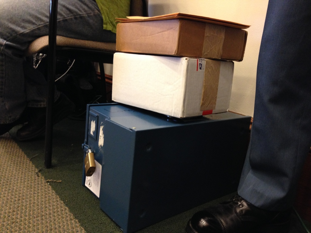 The locked boxes containing the 192 ballots from Long Island. There are 21 ballots that appeared during the recount that were not present on Election Day according to a voter manifest.