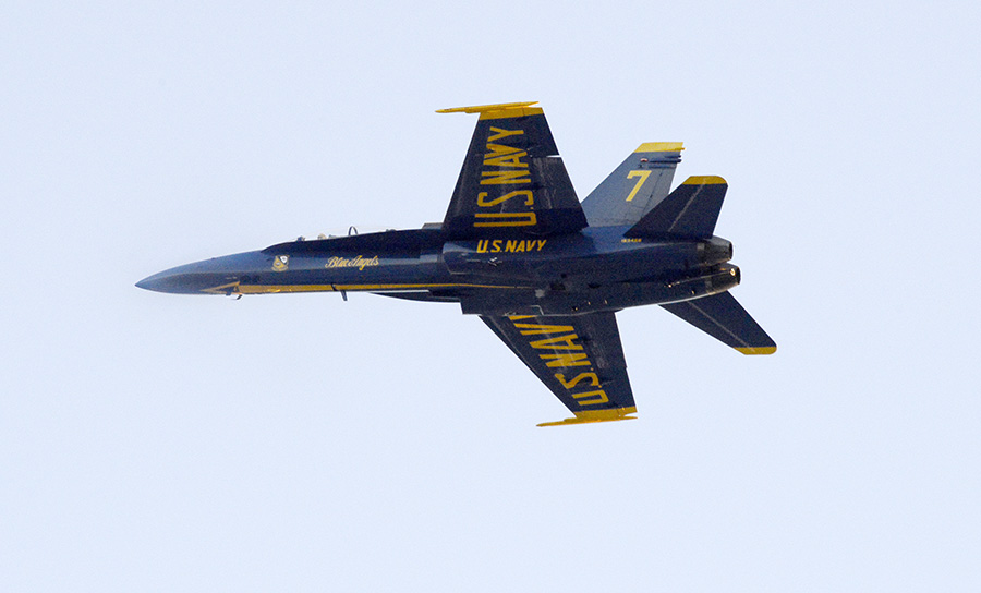 Blue Angels No. 7, flown by Capt. Jeff Kuss and Capt. Corrie Mays, does a publicity flyover at Brunswick Executive Airport. After landing, it slid off the runway.