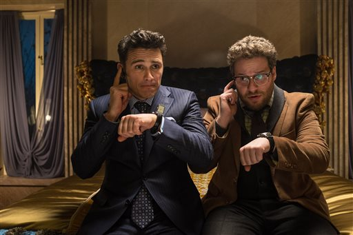 "James Franco, left, and Seth Rogen in a scene from ""The Interview."" in which They star as television journalists involved in a CIA plot to assassinate North Korean leader Kim Jong Un. The Associated Press /Columbia Pictures, Sony"