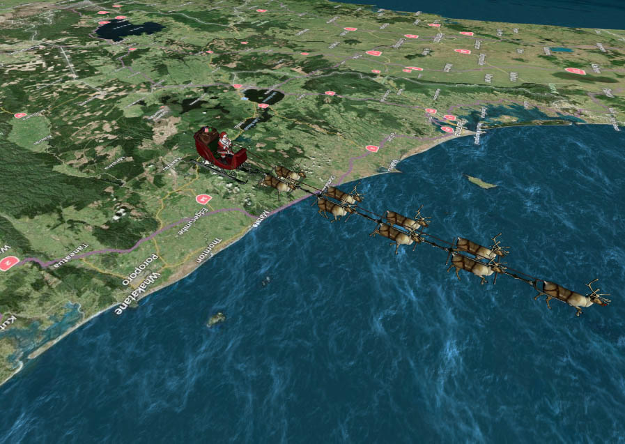 Santa leaves New Zealand headed for Suva in Fiji early Christmas Eve morning in this screenshot from NORAD's Santa tracking website.