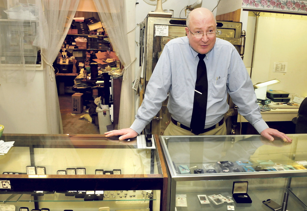 Trask Jewelers owner John Anderson speaks about his four decades in the company, which has been on Main Street in Farmington for 159 years, on Wednsday, its last day in business.