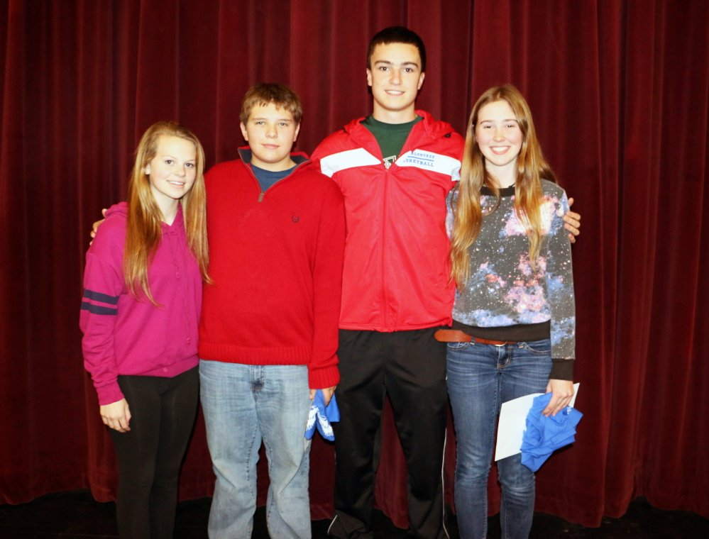 Oakland's Messalonskee High School recently announced its December students of the month, they are, from left, Megan Charrier, sophomore; Owen Corrigan, freshman; Jack Bernatchez, junior; and Jill Twist senior. These students were chosen for their academic improvement/excellence and their contribution to the Messalonskee school community. The students were nominated by MHS faculty members and chosen by the school's Culture Committee and Leadership Team. The students will receive preferential parking at the school as well as a variety of items donated by local businesses that support Messalonskee's goal of honoring excellence in the school.