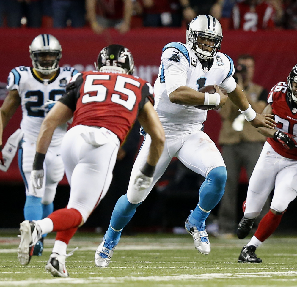 Carolina Panthers quarterback Cam Newton (1) runs out of the pocket as Atlanta Falcons inside linebacker Paul Worrilow (55) looks on during the first half last week in Atlanta. The Panthers play the Arizona Cardinals in the NFC wild-card round on Saturday in Charlotte, N.C.