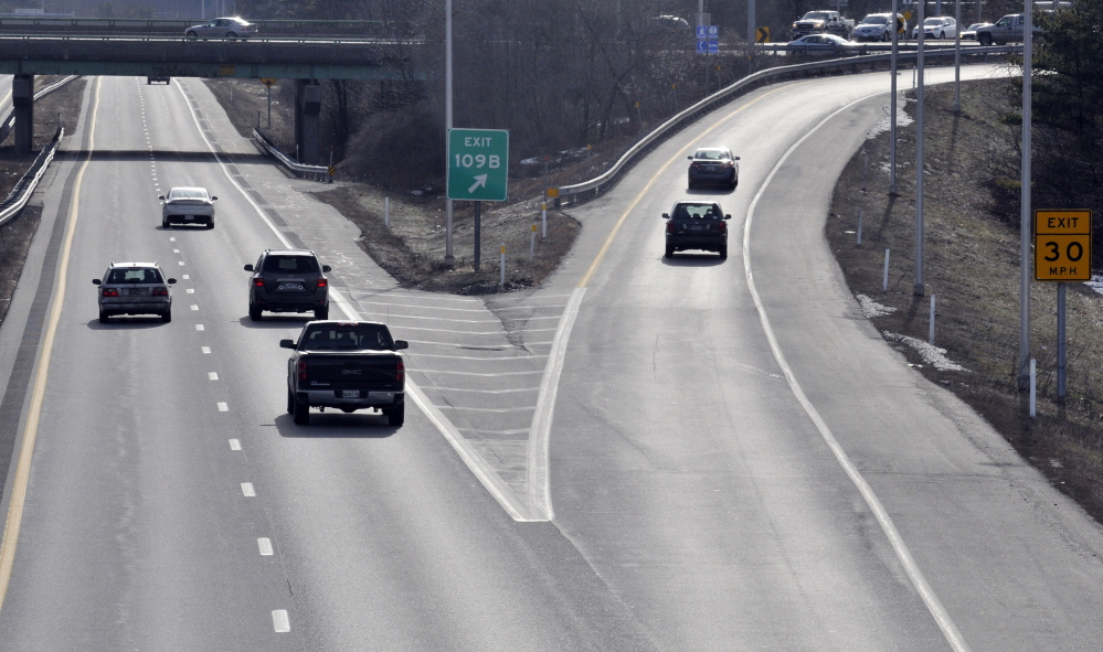 Cars take exit 109B from Interstate 95 to Western Avenue in Augusta, an area that's prone to accidents, according to state transportation officials.