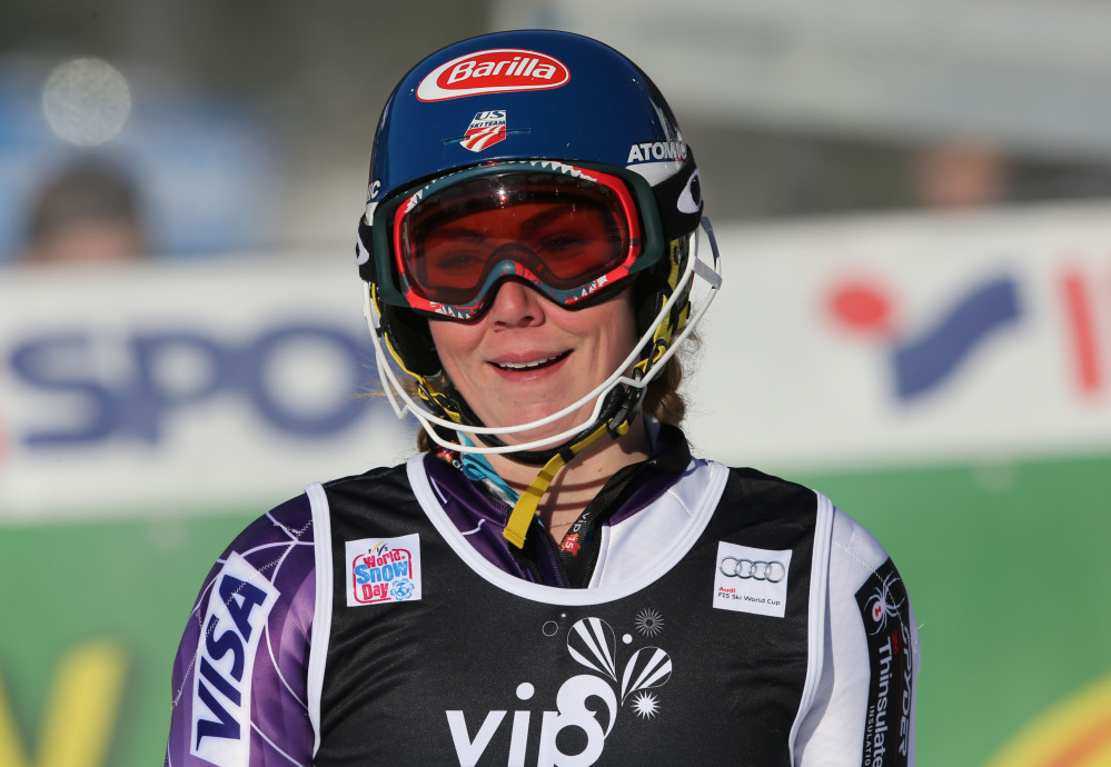 Mikaela Shiffrin of the United States smiles in the finish area after winning the World Cup slalom race in Sljeme, Zagreb, Croatia, on Sunday.