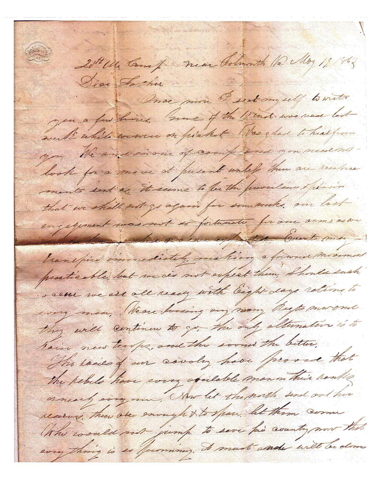 The Brown Memorial Library in Clinton has obtained copies of three letters written by Capt. Charles W. Billings, of Clinton, to his father during the Civil War.