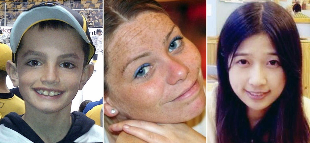 FILE - This combination of undated family photos shows, from left, Martin Richard, 8, Krystle Campbell, 29, and Lu Lingzi, a Boston University graduate student from China, all who were killed in the bombings near the finish line of the Boston Marathon on April 15, 2013, in Boston. Jury selection for the trial of bombing suspect Dzhokhar Tsarnaev is scheduled to begin Monday, Jan. 5, 2015, in federal court in Boston. (AP Photo/File)