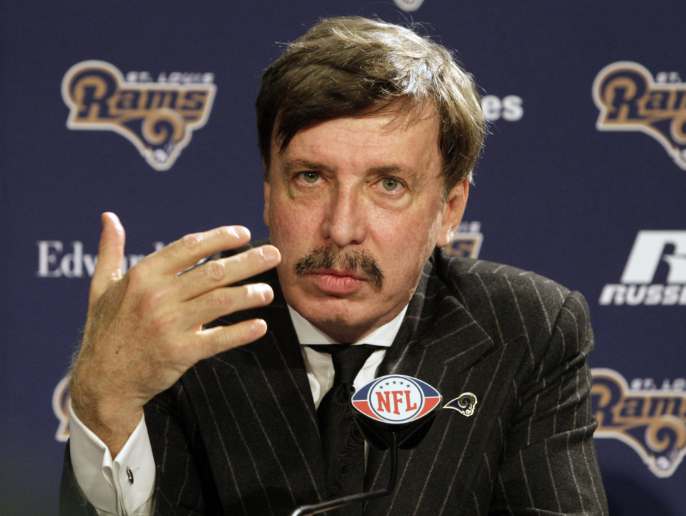 In this Jan. 17, 2012, file photo, St. Louis Rams team owner Stan Kroenke speaks at the press conference in St. Louis. A newspaper reports the owner of the Rams plans to build an NFL stadium in Los Angeles County, boosting the chances that pro football could return to the region.
