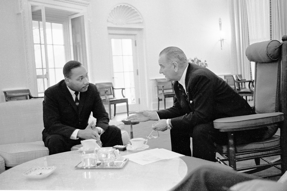 LBJ Library photo   President Lyndon Baines Johnson and the Rev. Martin Luther King Jr. work together on the American civil rights movement.