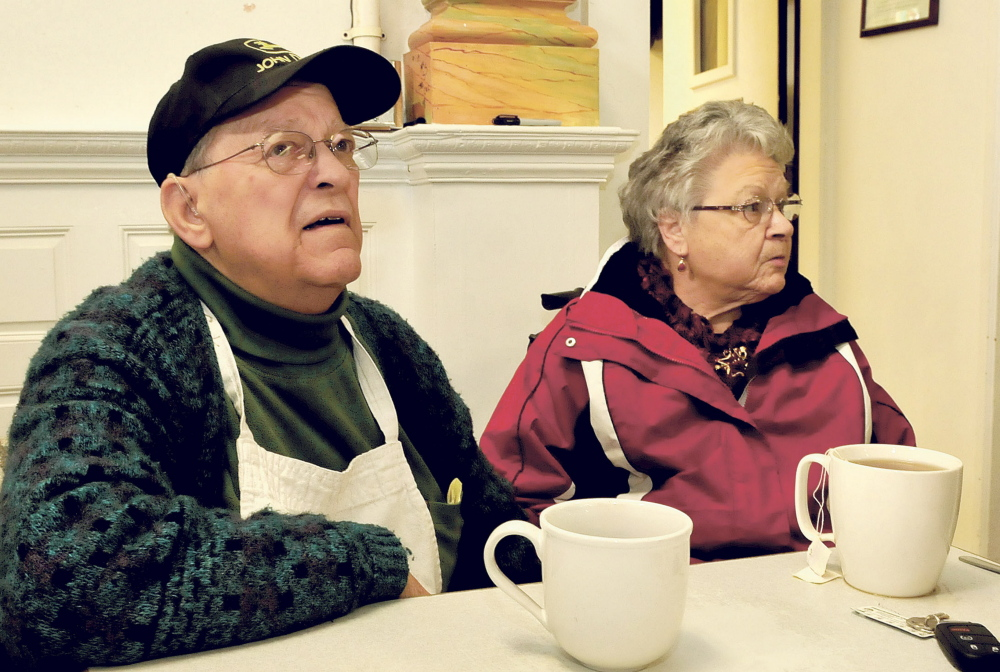 Dick Willette, director of the Sacred Heart Soup Kitchen in Waterville, and his wife, Gloria, speak on Wednesday about the needs of some city residents during the harsh cold that has plagued the area this week.