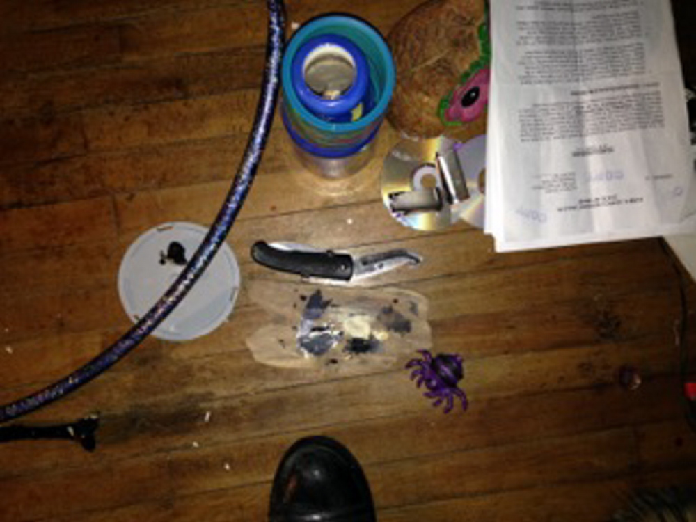 Knife allegedly used by Noah Michaud to threaten his girlfriend in Waterville Thursday.
