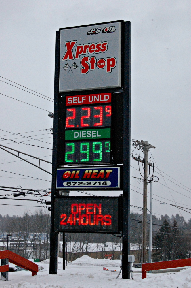 J&S Express Stop on Kennedy Memorial Drive in Waterville was selling regular unleaded gasoline for $2.23 per gallon on Friday. That's down 46 percent from the statewide average record high in July 2008, according to data from the American Automobile Association.
