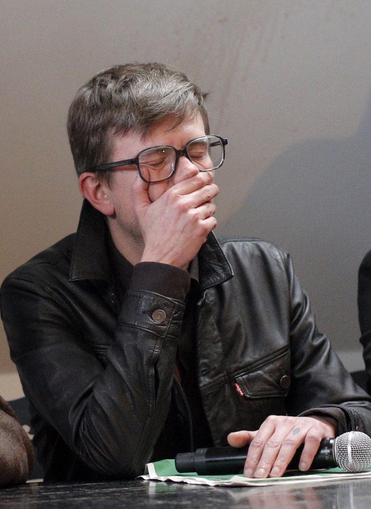 Cartoonist Renald Luzier, known as Luz attends a press conference in Paris, France, Tuesday.