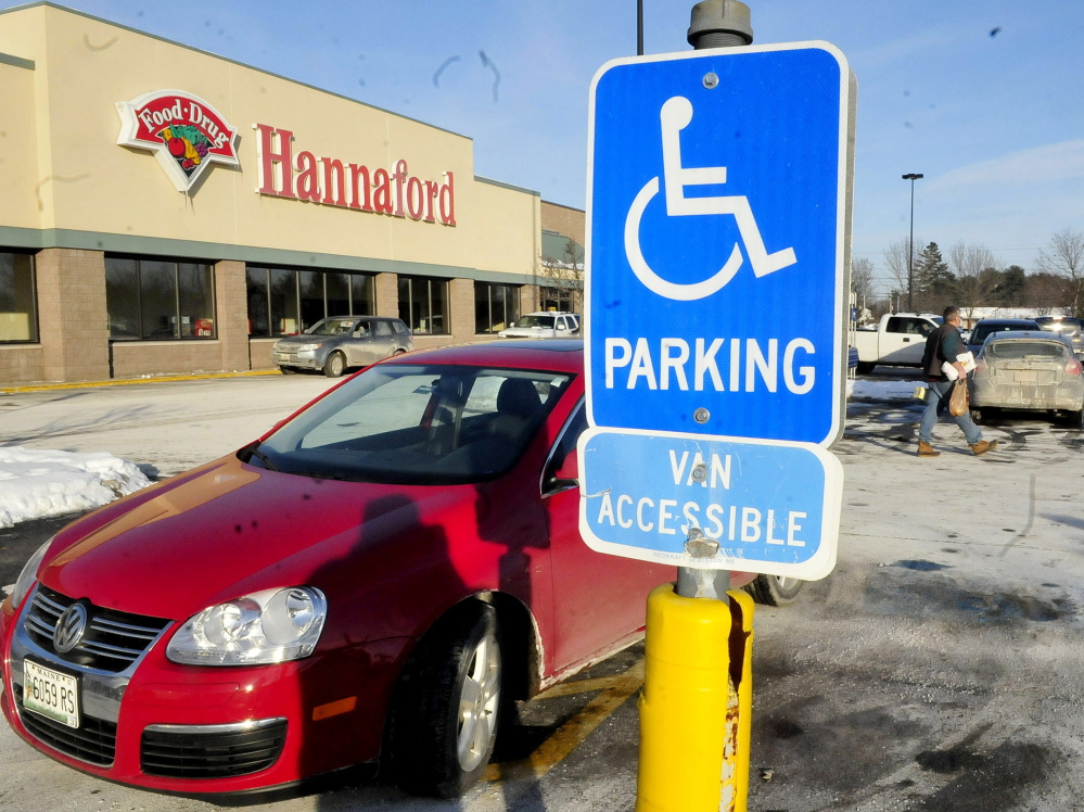 Police plan to crack down on people who park illegally in parking spaces reserved for the handicapped on private property in Skowhegan. The car in this photograph displayed a state handicap parking placard and was parked legally.