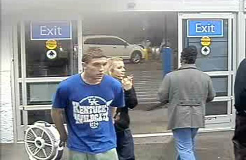 In this photo made from surveillance video and released by the Grayson County Sheriff's Office, in Kentucky, 18-year-old Dalton Hayes and 13-year-old Cheyenne Phillips walk into a South Carolina Wal-Mart. Kentucky authorities say the two teenage sweethearts suspected in a crime spree of stolen vehicles and pilfered checks across the South have been apprehended in in Panama City Beach Florida early Sunday.