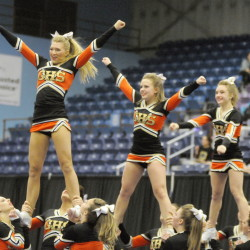 Gardiner Area High School cheerleaders compete Monday at the KVAC cheering competition in Augusta.
