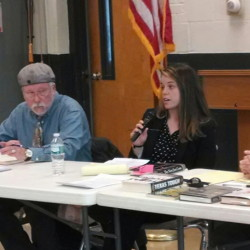 From left are Chris Myers Asch, moderator and historian; Neil Robertson, Maine Prisoner Advocacy Coalition; Grainne Dunne, Maine American Civil Liberties Union; and Lance Tapley, journalist and author.