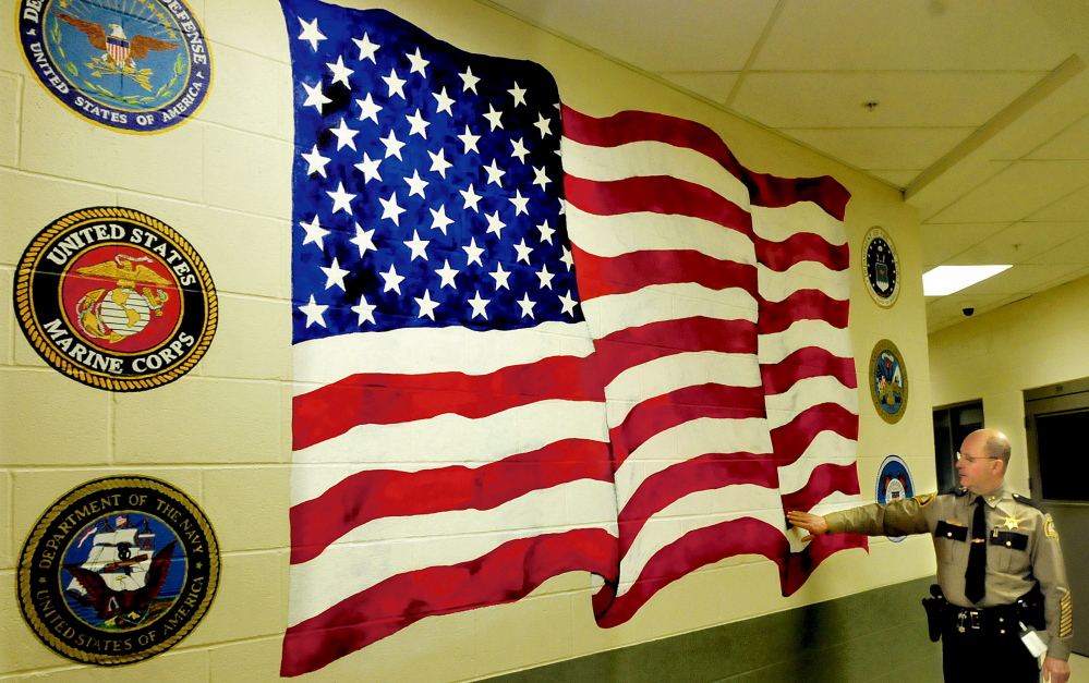 Inmate art blooms on somerset county jail walls central for American flag wall mural
