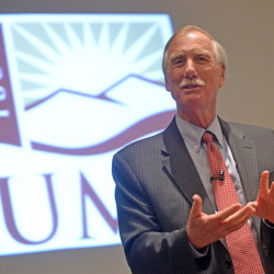 Senator Angus King called for culturally aware foreign policy and warned about growing cybercrime in a talk Friday at the University of Maine at Farmington on current events in foreign affairs.