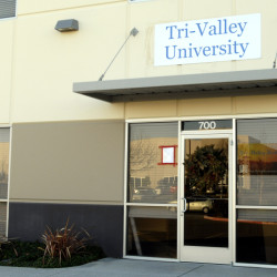 In this photo taken Jan. 19, 2011, is the entrance to Tri-Valley University in Pleasanton, Calif. Tri-Valley is among at least half a dozen schools shut down or raided by federal authorities in recent years over allegations of immigration fraud.