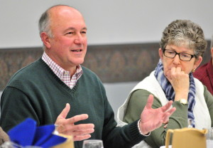 City Councilor Patrick Paradis and Rep. Donna Doore talk about how the state budget proposals will affect the Augusta during an Augusta City Council goal-setting session Saturday at the Augusta Civic Center.