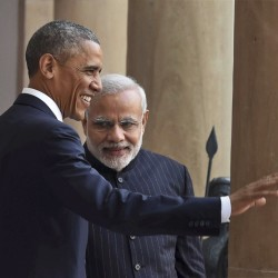 "U.S. President Barack Obama, left and Indian Prime Minister Narendra Modi pose for the media before they held their talks, in New Delhi, India, on Sunday. Seizing on their personal bond, Obama and Modi said Sunday they had made progress on nuclear cooperation and climate change, with Obama declaring a ""breakthrough understanding"" in efforts to free U.S. investment in nuclear energy development in India."