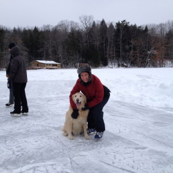 Robin DesJardins, of Readfield, with her dog Mo.