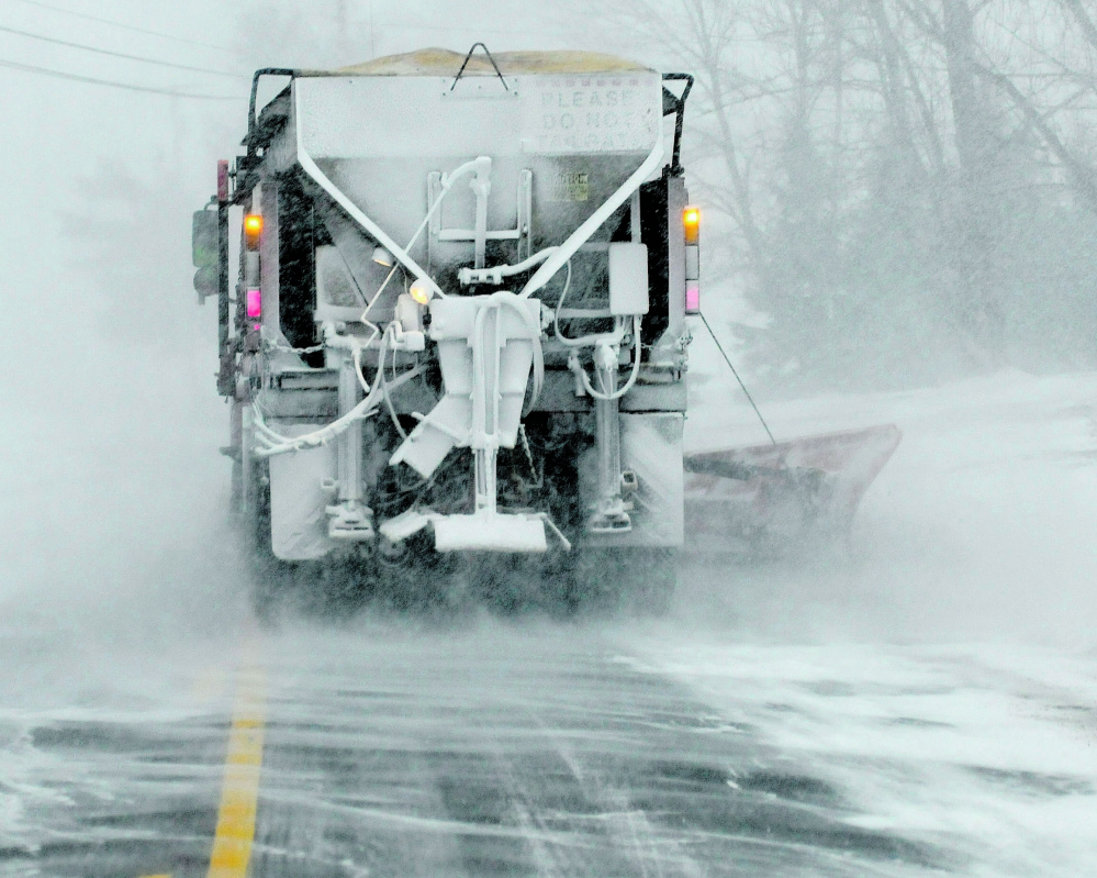 Plow trucks were out in force and had little traffic on Route 139 in Benton during the early part of the snow storm on Tuesday.