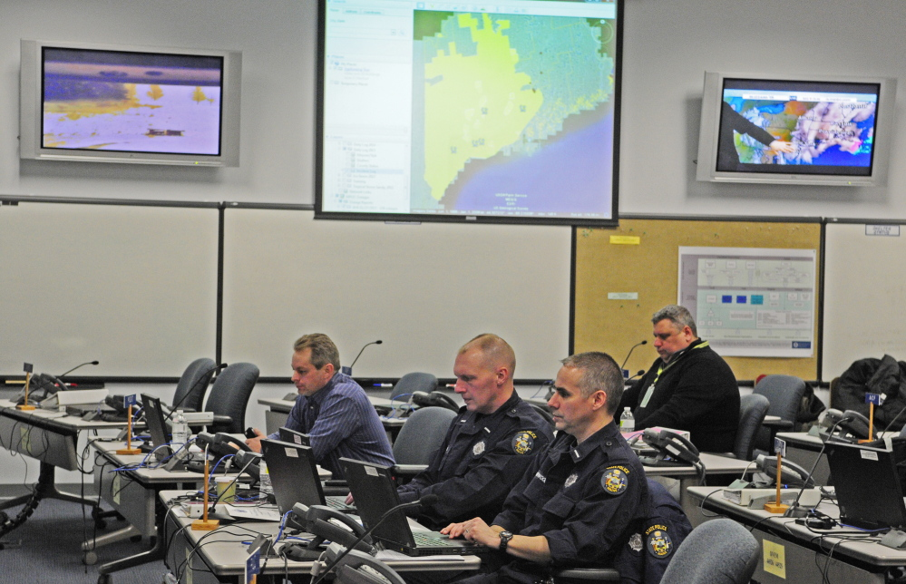 The responder crew at the Maine Emergency Management center Tuesday in Augusta.