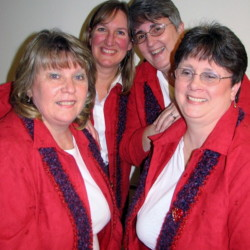 Barbershop quartet Heart 'n' Soul will deliver singing Valentines Feb. 13 and 14. From left are Anne Danforth of Chelsea, Cathy Anderson of Jefferson, Sue Staples of Bangor and Jan Flowers of Winterport.