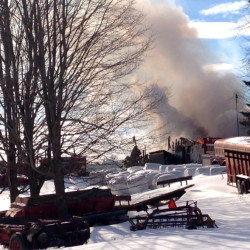 A Farmingdale barn was destroyed by fire Wednesday.