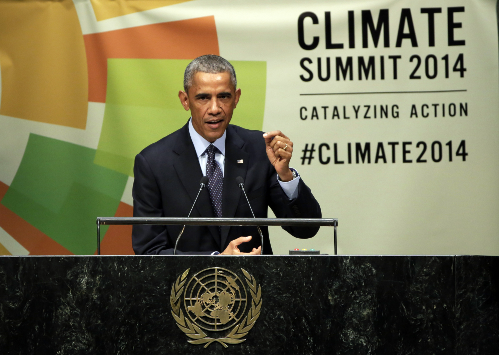 President Obama addresses the Climate Summit in September at United Nations headquarters. His ambitious efforts to combat global warming face their biggest trial yet as Republicans take control of Congress. Success for Republicans would have ramifications far beyond the United States. The Associated Press