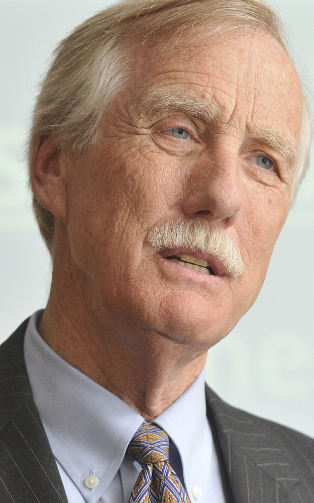 Senator Angus King speaks at a PACTS luncheon at USM. John Ewing/staff photographer