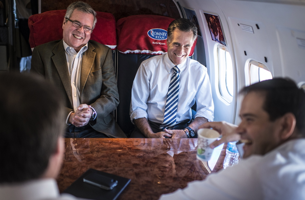 Former Florida Gov. Jeb Bush, left, Sen. Marco Rubio, bottom right, and Mitt Romney likely won't spend much time together in 2015 as the Republican presidential primary heats up. Romney's surprise announcement that he is seriously considering a third run for the White House has forced other would-be candidates to make moves. 2012 Washington Post file photo/Melina Mara