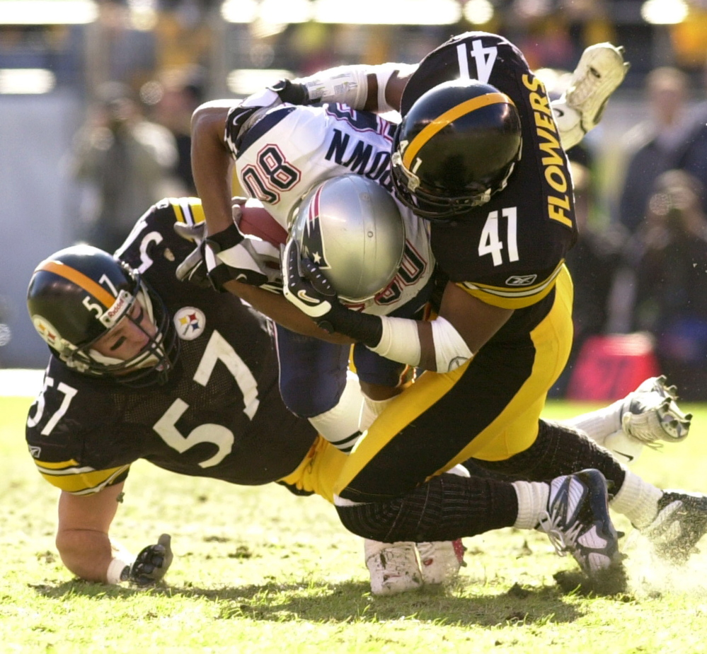 Tough to bring the Pats down when they get this far, and, lordy, the Steelers sure tried in 2002. But that New England defense – again – plus Troy Brown on special teams and reserve QB Drew Bledsoe ignited a victory.