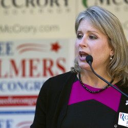 Rep. Renee Ellmers, R-N.C., speaks to supporters gathered at a rally in Raleigh, N.C. on Saturday, Oct. 13, 2012. House Speaker John Boehner was also at the event to support Ellmers and fellow candidate George Holding in the November election. (AP Photo/Karl B DeBlaker)
