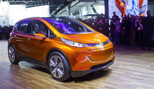 The Chevrolet Bolt EV electric concept vehicle is onstage at the North American International Auto Show in Detroit Monday. The Associated Press