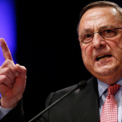 Maine Gov. Paul LePage delivers his inaugural address after taking the oath of office for his second term at the Augusta Civic Center on Wednesday. The Associated Press/Robert F. Bukaty