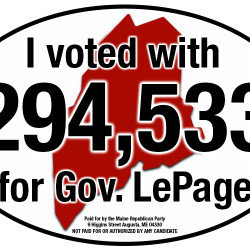 This image of the LePage bumper sticker appears on the Maine Republican Party's website.