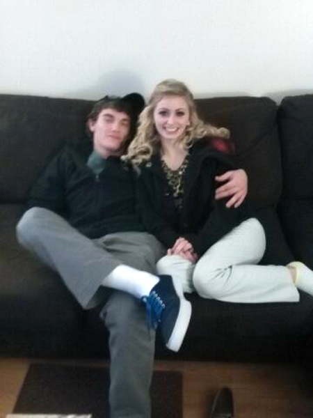 Dalton Hayes poses with his girlfriend Cheyenne Phillips at his family's home in Leitchfield, Ky., in this December 2014 photo provided by Tammy Martin, his mother. The Associated Press