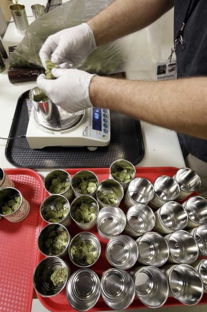 Marijuana is measured in 3.5 gram amounts and placed in cans for packaging at the Pioneer Nuggets marijuana growing facility in Arlington, Wash. The Associated Press