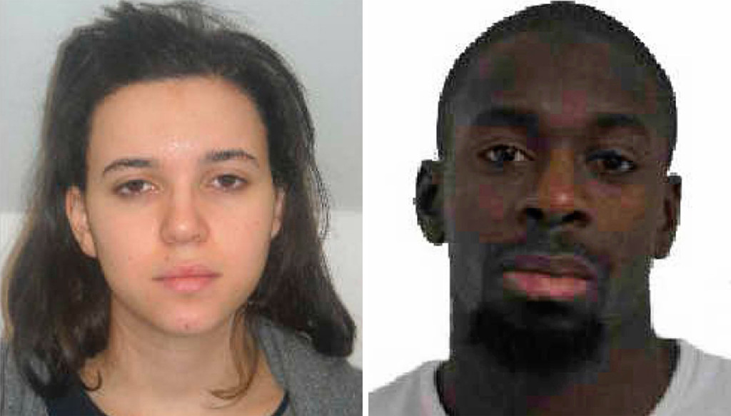 Amedy Coulibaly, right, is a suspect in the killing Thursday of a French policewoman, and is said to be the man holed up in kosher market. Hayet Boumddiene, left, is the gunman's suspected accomplice. Photo provided to The Associated Press by the Paris Police Prefecture
