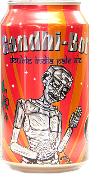 "New England Brewing Co.'s website shows this photo of a can of Gandhi-Bot, which is described as ""an intensely hopped double India pale ale with a blend of three varieties of American hops. Aromatic and fully vegetarian, Gandhi-Bot is an ideal aid for self-purification and the seeking of truth and love."""