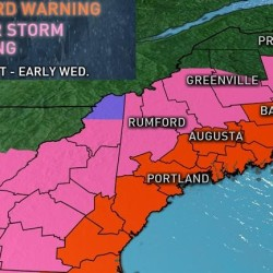 The National Weather Service issued a blizzard warning for coastal Maine. Map courtesy of WCSH-TV Channel 6.