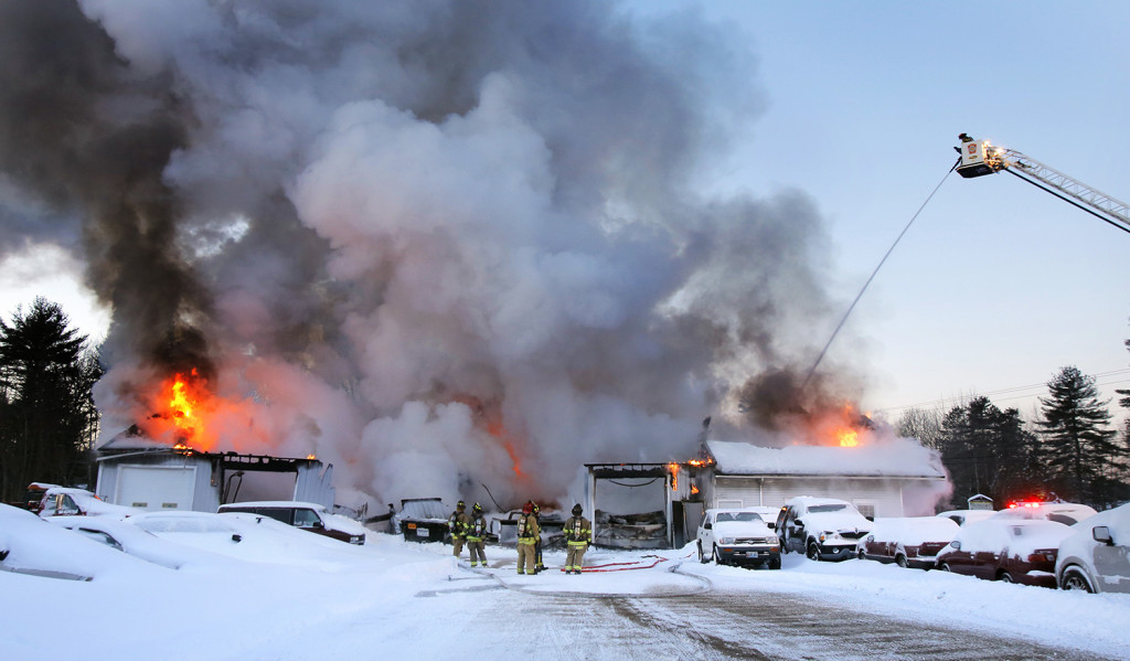 Firefighters Battle a Fire at