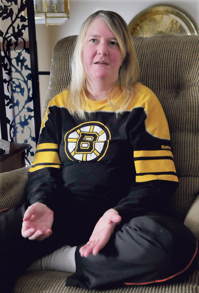 Army veteran Roxane Marie Montgomery speaks in December about being raped by two fellow servicemen while serving in the first Gulf War which may have led to recent alcohol problems. Montgomery is the first woman to go through the Kennebec County Veteran's Treatment Court program.