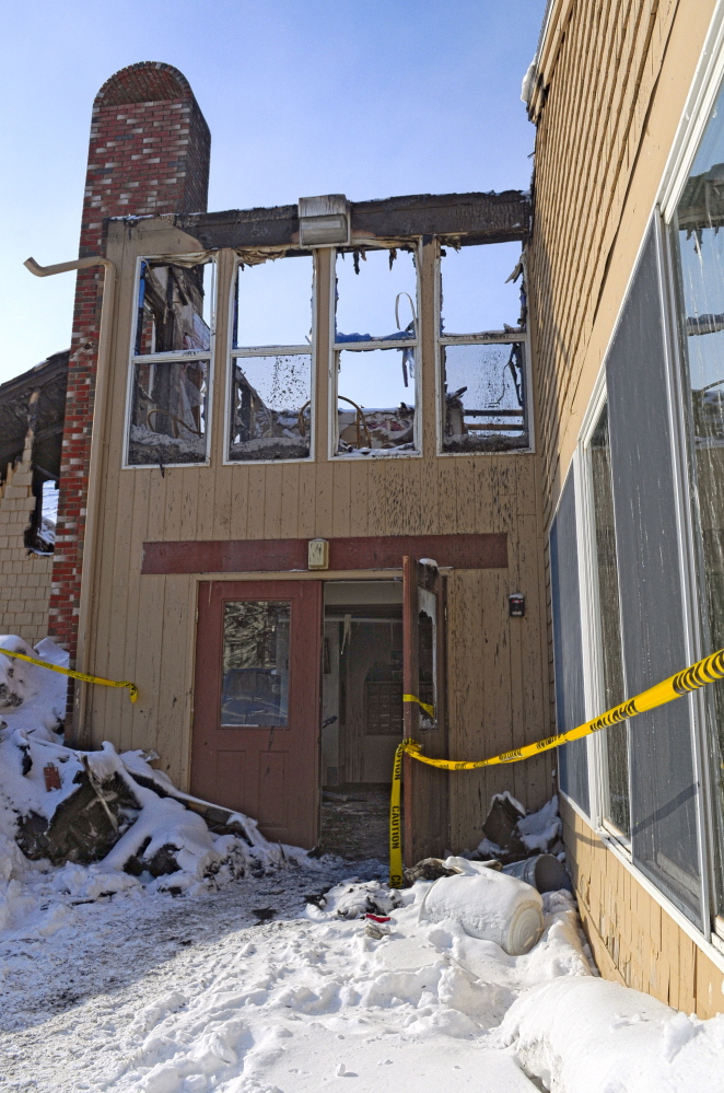 About 30 tenants were forced from their home on Highland Avenue in Gardiner when fire ripped through a section of the building late Wednesday night.