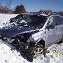 Two people from this Honda CRV were treated at Central Maine Medical Center in Lewiston following a four-vehicle crash on the Maine Turnpike Monday morning.